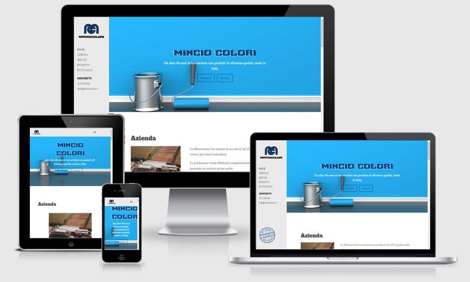 sito web one page multi-lingua mincio colori colorificio azienda produttrice suzzara mantova