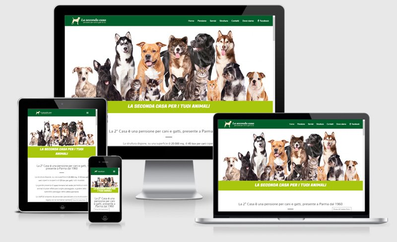 sito web onepage la seconda casa pansione cani gatti asilo parma